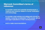Warnock Committee's terms of reference